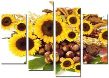 4 Panel Total size 98x78cm  Large CANVAS ART ABSTRACT PRINTS SUNFLOWER Yellow