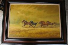 Original Oil on Canvas Painting by listed artist Harland Young Running Horses