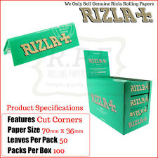 Rizla Green Regular Size Cigarette Rolling Papers - One Full New Box - 100 Packs
