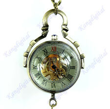 Skeleton Mechanical Automatic Glass Ball Pendant Pocket Watch Memorial Gifts