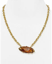 "ROBERT LEE MORRIS Soho Topaz Glass Stone Leaf Pendant Gold-Plated 20"" Necklace"