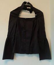 Gucci camisa negra con cuello Cut-out y Imitación Bow Tie-Talla 38 Italia (UK 8)