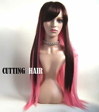 Brown mix Pink Full Long Straight Layers Full Wig 09