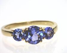 14K Yellow Gold 1.16 Carat Total Weight 3 Stone Tanzanite Ring. (B5199)