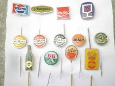 SODA DRINK pin badge lot 13.Coca Cola,Pepsi Schwepes,wine BIP Minakva Yugoslavia