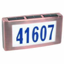 New Copper finish Illuminated Solar Powered House Mailbox Address Number Sign