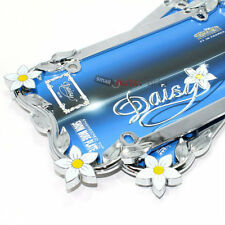 2 Chrome Daisy Flowers Metal License Plate Tag Frames for Auto-Car-Truck