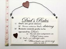 Dads Rules Wall Plaque Christmas Stocking Filler Gift Ideas for Dad Him Grandad