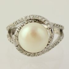 Button Pearl & Cubic Zirconia Fashion Ring - 925 Sterling Silver Band Women's