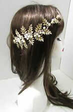 Gold Leaf Pearl Headdress Headpiece Bridal 1920s Vintage Hair Vine Grecian B23