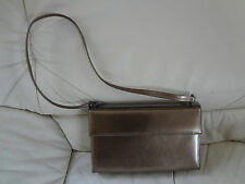 VTG Salvatore Ferragamo Evening Bayleaf Bronze Metallic Leather Shoulder Bag