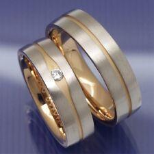 Premium Trauringe Hochzeitsringe Eheringe Bicolor aus 585 Rotgold und Weissgold
