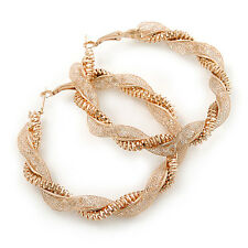 LARGE GOLD TONE Twisted mesh Hoop Orecchini - 65mm di diametro