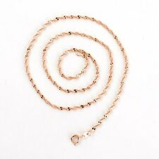 "18k Rose Gold Filled Women's Necklace Rope Chain 18""Link Fashion Jewelry"