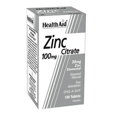 HEALTH AID ZINC CITRATE 100MG - 100 TABLETS