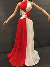 "Tonner Joan Crawford Jungle Red RED WHITE PLEATED GOWN 16"" Doll Fashion"