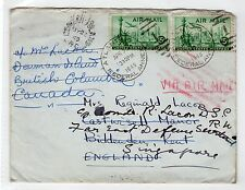 USA: 1949 AIR MAIL COVER TO CANADA, REDIRECTED TO ENGLAND AND SINGAPORE (C12181)