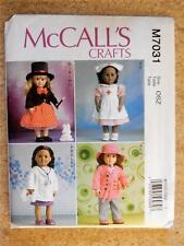 "McCALL'S PATTERN M7031 FOR AMERICAN GIRL OR ANY 18""DOLL"