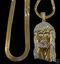 MENS NEW 14K GOLD PLATED FRANCO CHAIN & JESUS FACE SET