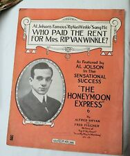 Antique 1914 Sheet Music WHO PAID THE RENT FOR MRS. RIP VAN WINKLE? Al Jolson