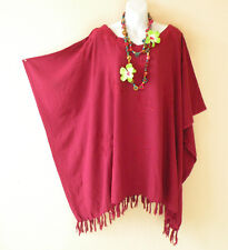 Embroidered Maroon Solid Plus Size Kaftan Tunic Hippy Women Blouse Top -2X to 5X