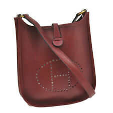 Authentic HERMES Evelyne TPM Cross Body Shoulder Bag Bordeaux Box Calf V06811