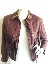 ROBERTO CAVALLI FRINGE LEATHER JACKET BURGUNDY SIZE S IMPERFECT