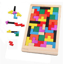 Wooden Tangram Brain Teaser Puzzle Tetris Game Preschool Children Wood Toy
