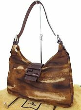 Authentic FENDI Brown Pony Hair and Leather Mini Shoulder Bag Purse #19001