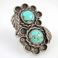 Large Old Pawn Navajo Sterling Silver & High Grade Turquoise Ring Sz 7 │RS I