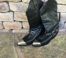 WOMEN'S COWBOY WESTERN BOOTS SIZE 7 with Silver Tips Buckles Leather Straps