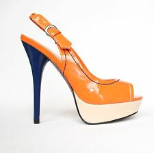 Lack Plateau High Heels Stilettos Pumps Riemchen Sandaletten 38 Orange 1817-GL