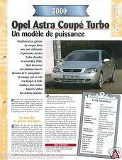 Opel Astra Coupé Turbo  V4 2000 Germany USA Car Auto Voiture FICHE FRANCE