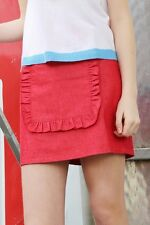 The Whitepepper Denim Ruffle Panel Mini Skirt Red Hipster - X Small #37L93