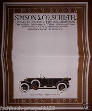 SIMSON SUPRA 8/40PS  PROSPEKT SUHL THÜRINGEN 1926 OLDTIMER SAMMLER VORKRIEG