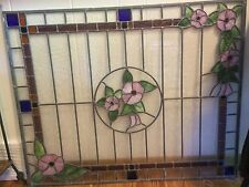 Stained Glass Window Door Panel Art Decor - 36 x 29 inches - Pink Flowers