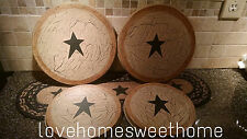 Primitive Crackle Tan & Black Stars Metal Burner Covers Set of 4  Country Decor