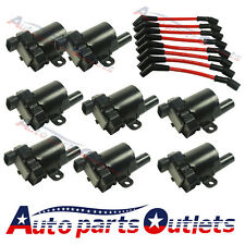 Set of 8 Ignition Coils Kit with 8 Pcs Spark Plug Ignition Wires Set For Chevy