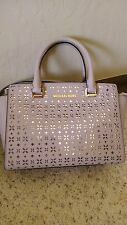 NWT Michael Kors SELMA Floral Perforated Medium Bisque Satchel Leather Handbag