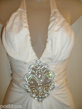 Sky Clothing Brand XS Top Halter Rhinestone Crystal Peek A Boo White Spring Club