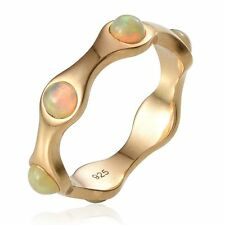 WELO FIRE OPAL 14K Gold on Sterling Silver UK M,O FULL ETERNITY RING solid 925