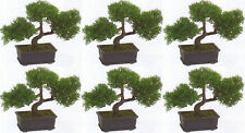 "6 ARTIFICIAL 9"" CEDAR BONSAI TREE TOPIARY IN OUTDOOR PLANT POOL PATIO HOME DECOR"