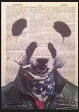 Panda Gangster Print Dictionary Page Wall Art Picture Rapper Hip Hop Bad Vintage
