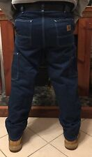 NEW Carhartt Carpenter Dungaree Fit Work Pants 100% Cotton Denim Men Size 36/30