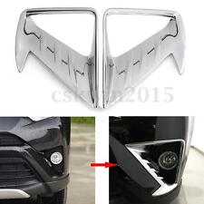 1 Pair CHROME FRONT FOG LIGHT HEAD LAMP COVER TRIM BEZEL for TOYOTA RAV4 2016