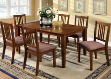 NEW 7PC MASON MISSION STYLE DARK OAK FINISH WOOD DINING TABLE SET w/ CHAIRS