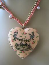 BETSEY JOHNSON VINTAGE TEA PARTY ROSE BUD LARGE HEART LOCKET NECKLACE~NWT~RARE