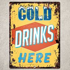 PP0167 Rust COLD DRINKS HERE Sign Home Shop Restaurant Cafe Interior Decor Gift