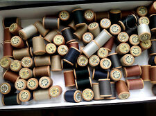 10 old various colors wood spools thin thread - 365 mt collectable