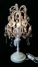 White Shabby Chic Beaded Table / Bedside Lamp height 50cm